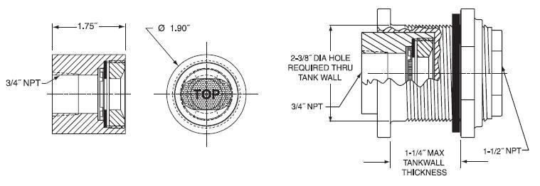 Item VB107X15 3 4 PVC Vacuum Breaker W FPM Membrane Threaded